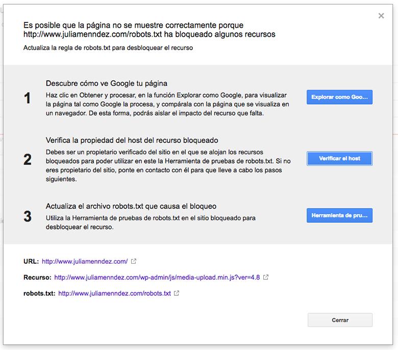 Pasos para solucionar el problema de recursos bloqueados en Google Search Console