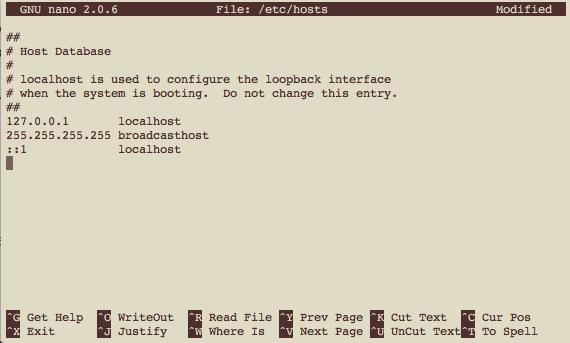Edición archivo hosts desde el Terminal