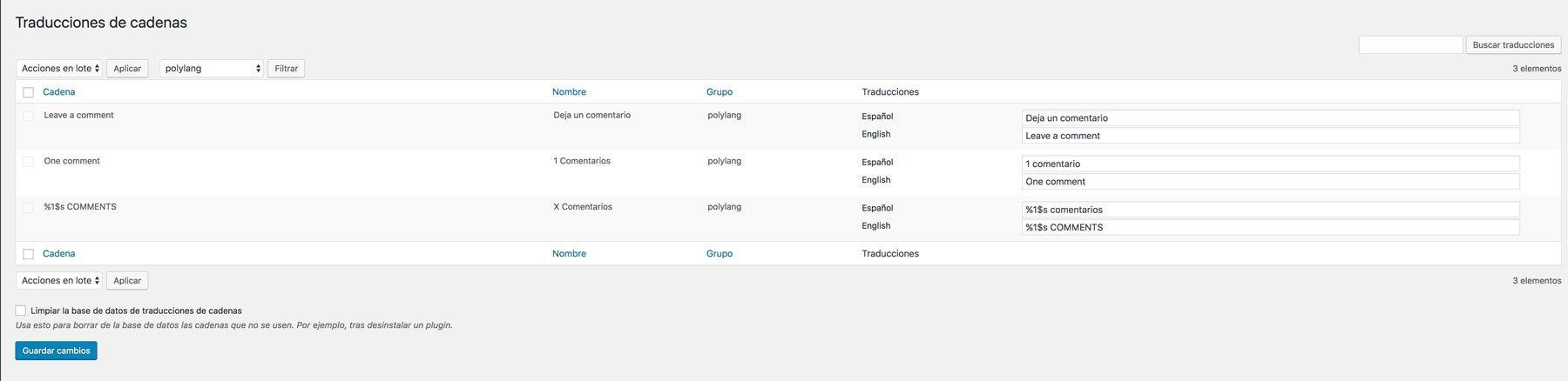 Nuevas cadenas de traducción en Polylang