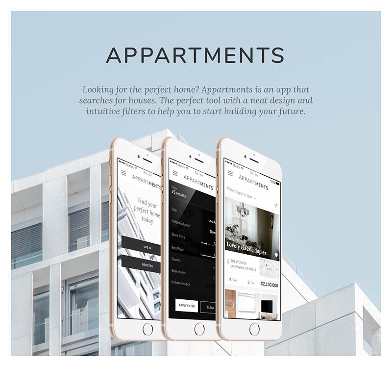 Julia Menéndez diseño web freelance Appartments mobile app cover
