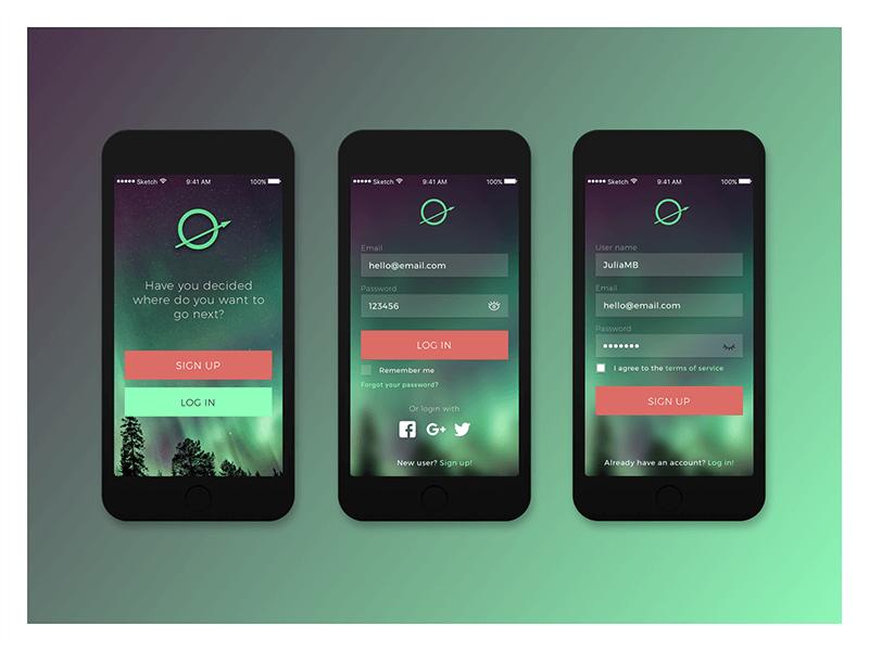 Julia Menéndez diseño web freelance Pantallas inicio y registro de aplicación móvil, log in and sign in screens mobile app